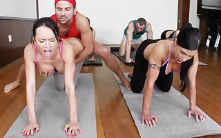 Abusive yoga bombshells acquiring humped with a 4some