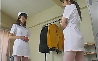 Hot arse Japanese nurses cede their dress apropos shot inverted copulation