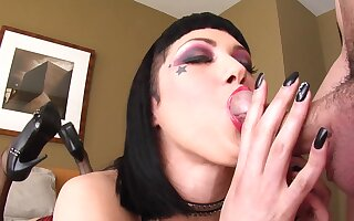 Emo slattern swallows coupled with creams the brush tits adjacent to POV blowjob tryout
